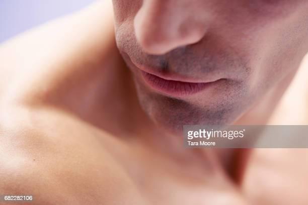 closeup of mans face - menselijke mond stockfoto's en -beelden