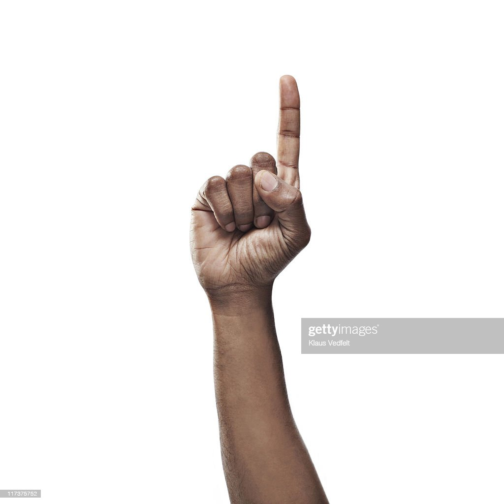 Close-up of man's hand pointing : Stock Photo