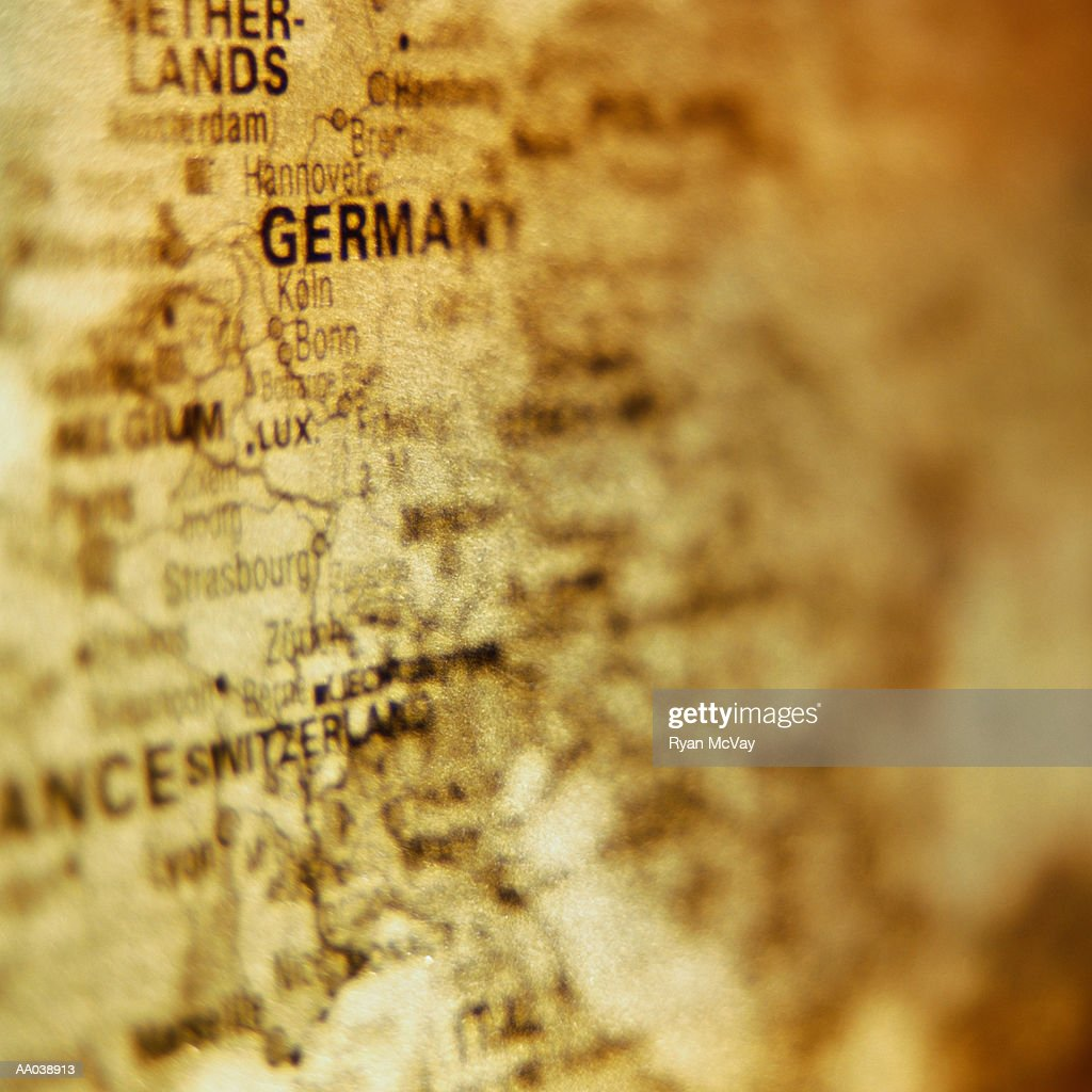 Close-up of Map of Western Europe : Stock Photo