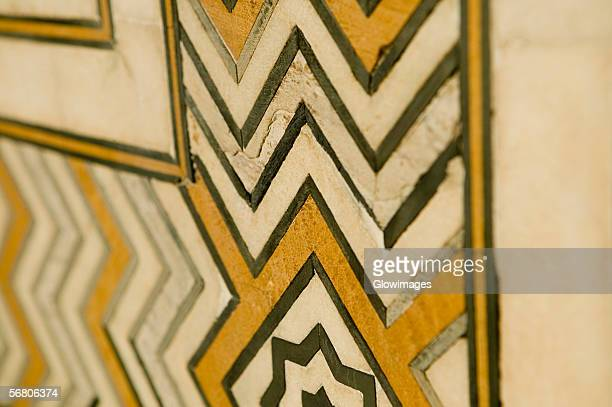 Close-up of marble inlay work on the floor, Taj Mahal, Agra, Uttar Pradesh, India