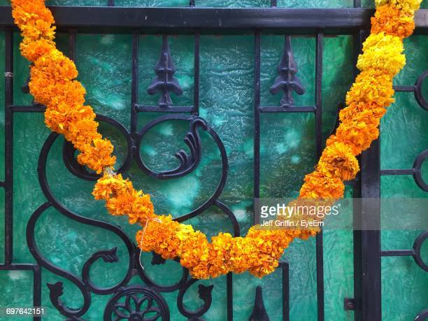 Close-Up Of Marigold Garland Hanging On Metallic Gate