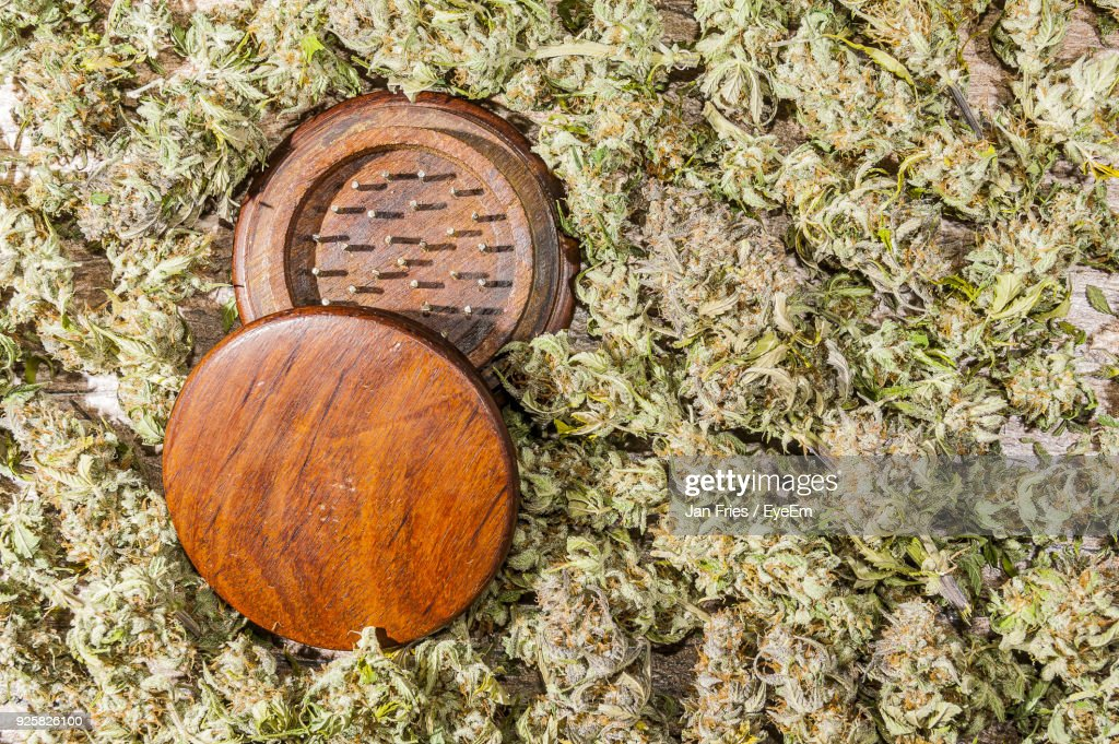 Close-Up Of Marijuana With Grinder : Stock Photo