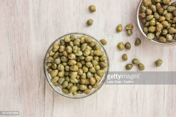 Close-Up Of Marinated Capers In Bowl On Table