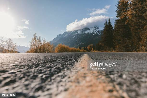 close-up of marking on road against mountains and trees at kenai fjords national park - kenai mountains stock pictures, royalty-free photos & images