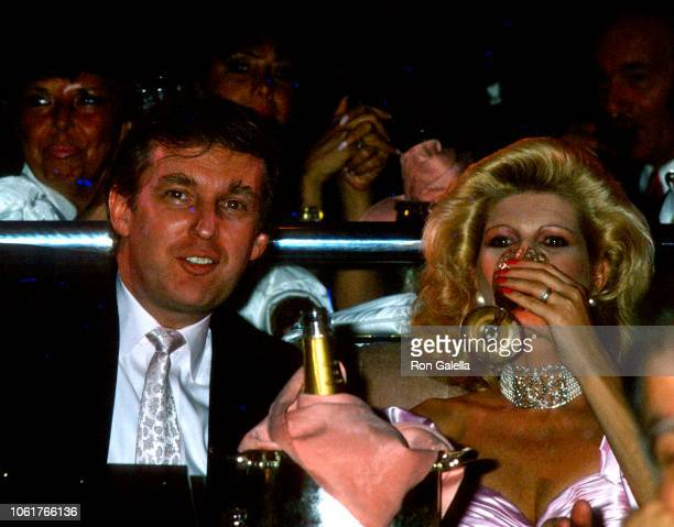 Closeup of married couple American real estate developer Donald Trump and Czech socialite Ivana Trump as they attend Donald Trump's 42nd birthday...