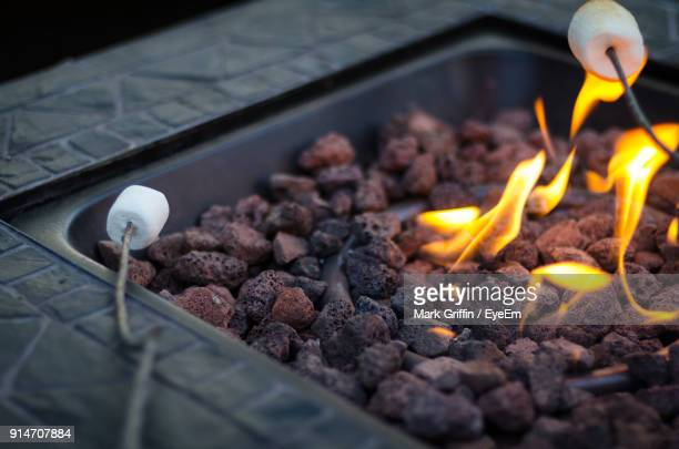 close-up of marshmallows by fire pit - fire pit stock pictures, royalty-free photos & images