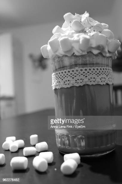 Close-Up Of Marshmallows On Table