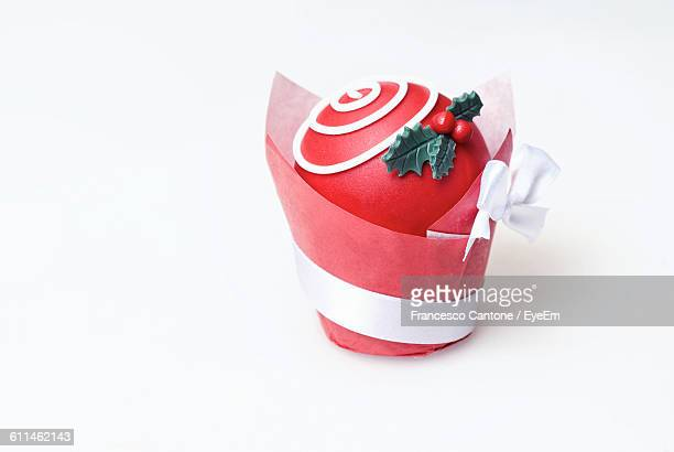 close-up of marzipan against white background during christmas - marzipan stock pictures, royalty-free photos & images