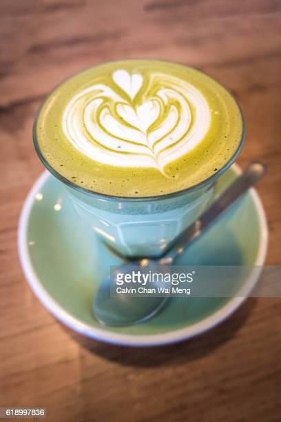 Close-Up of Matcha Green Tea On Table