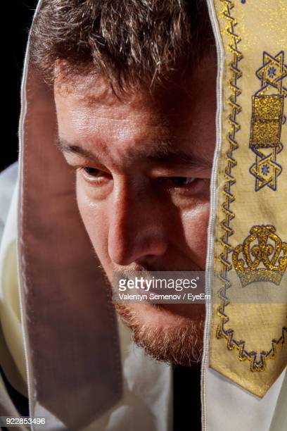 Close-Up Of Mature Man In Jewish Prayer Shawl