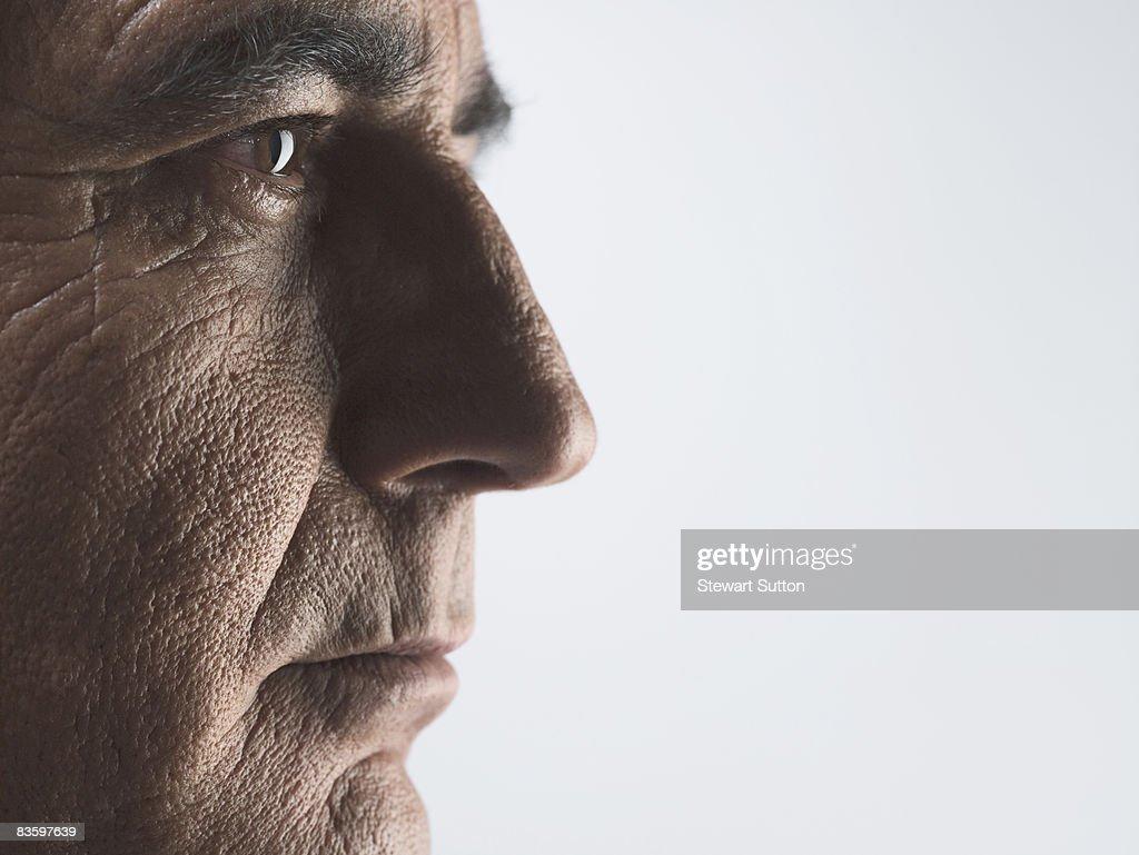 close-up of mature man's face : Stock Photo