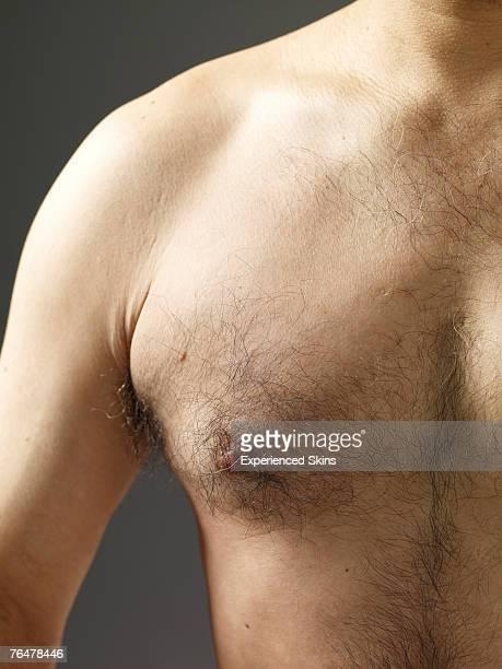 close-up of mature man's hairy chest - hairy chest 個照片及圖片檔