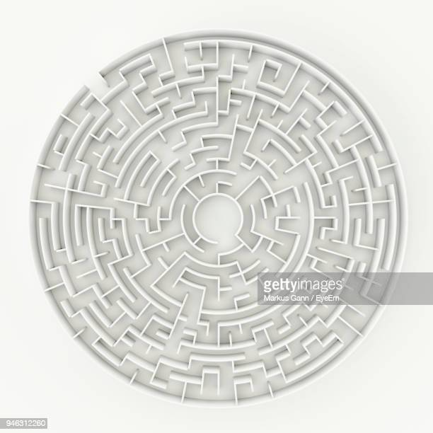 Close-Up Of Maze On White Background