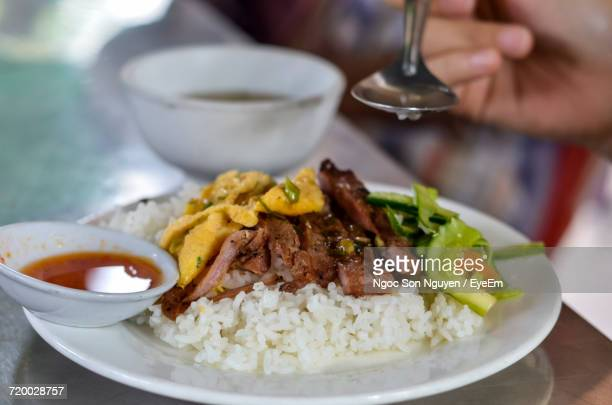 close-up of meal on plate - cambodian culture stock photos and pictures