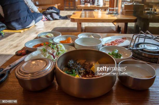 close-up of meal served on table - jeonju stock photos and pictures
