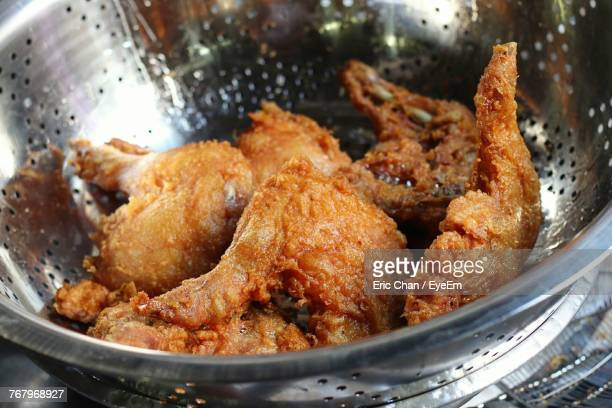 close-up of meat in plate - fried chicken stock photos and pictures