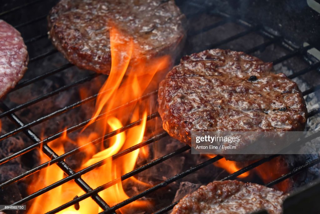 Close-Up Of Meat On Barbecue Grill : Stock Photo