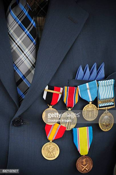 Close-up of medals and awards on the uniform of a retired U.S. Air Force veteran.