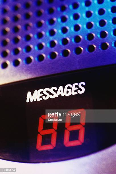 Closeup of message indicator on answering machine