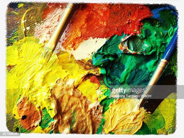 Close-Up Of Messy Palette