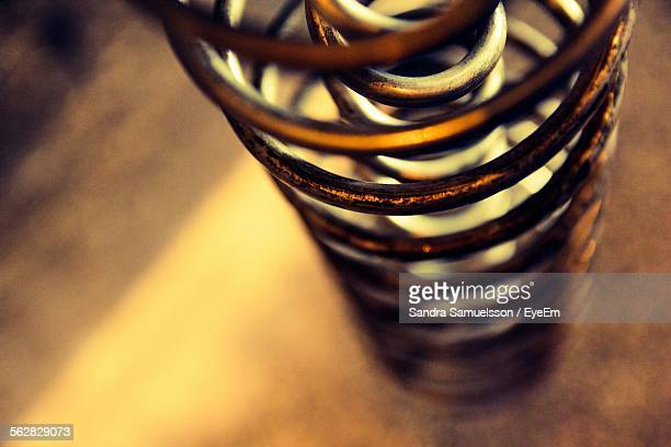 Close-Up Of Metal Coiled Spring