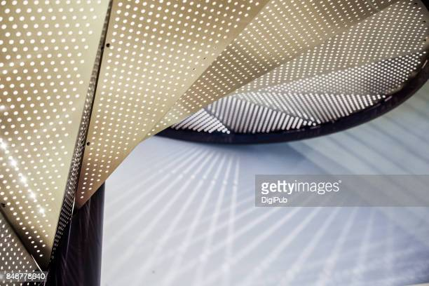close-up of metal spiral staircase - arquitetura imagens e fotografias de stock