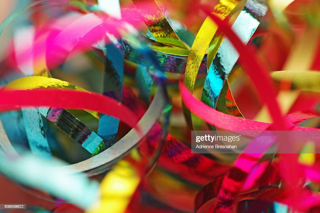 Close-Up of Metallic Ribbons : Stock Photo