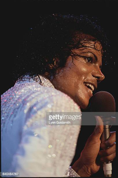 Closeup of Michael Jackson as he performs during The Jackson Five's 1984 Victory Tour