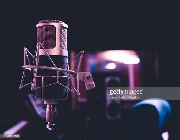 close-up of microphone at music studio - recording studio stock pictures, royalty-free photos & images