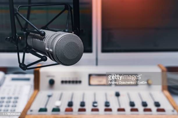 close-up of microphone in studio - radio stock pictures, royalty-free photos & images