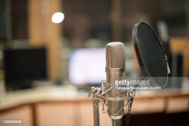 close-up of microphone - recording studio stock pictures, royalty-free photos & images