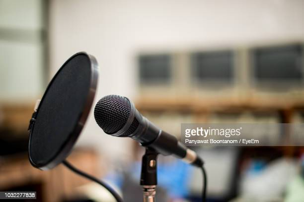 close-up of microphone - microphone stand stock photos and pictures
