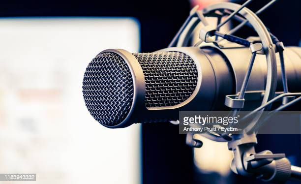 close-up of microphone - radio stock pictures, royalty-free photos & images