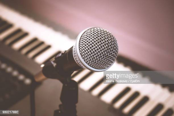 close-up of microphone - keyboard player stock photos and pictures