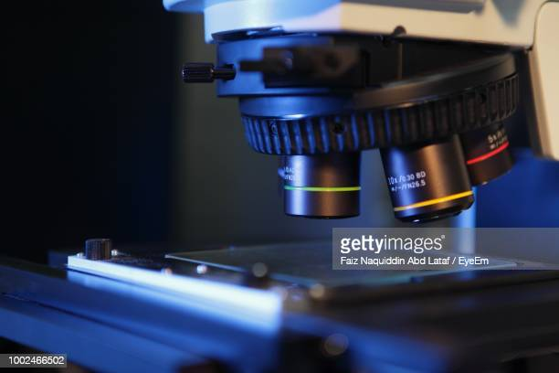 close-up of microscope - microscope stock pictures, royalty-free photos & images