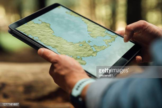 close-up of mid adult man's hands analyzing map over digital tablet in forest - looking stock pictures, royalty-free photos & images