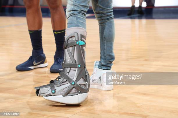 A closeup of Mike Conley of the Memphis Grizzlies foot after the game against the Denver Nuggetson March 2 2018 at FedExForum in Memphis Tennessee...