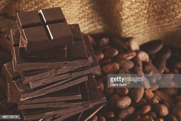 Close-up of milk chocolate bars and coffee beans, Western Cape, South Africa.