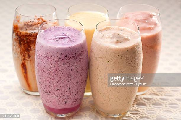 Close-Up Of Milkshakes Served On Table