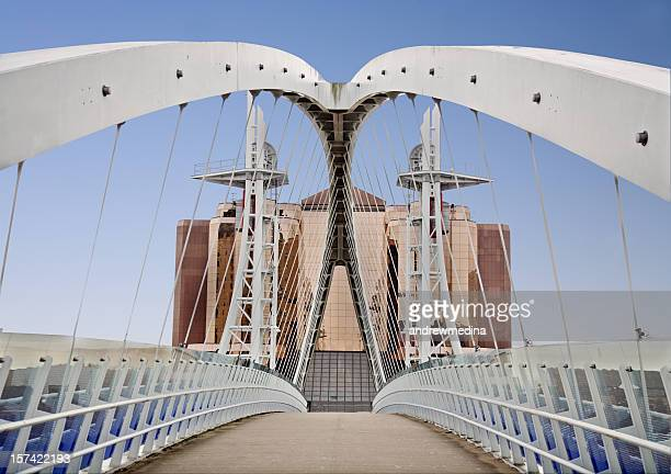 close-up of millennium bridge in salford, manchester - salford stock pictures, royalty-free photos & images