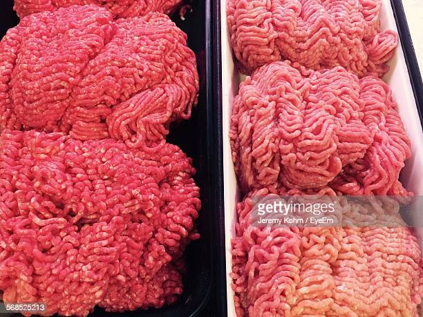 close-up of minced beef for sale at butcher shop - ground beef stock pictures, royalty-free photos & images