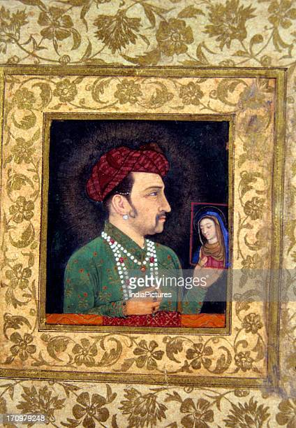 Closeup of miniature painting of portrait of Jahangir National Museum New Delhi India