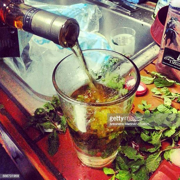 close-up of mint julep on kitchen counter - mint julep stock pictures, royalty-free photos & images