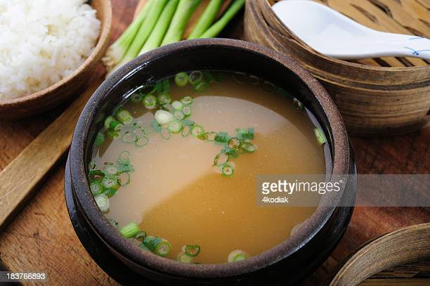 Closeup of miso soup in a bowl