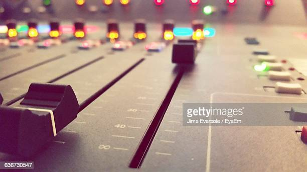 close-up of mixing console - equaliser stock pictures, royalty-free photos & images