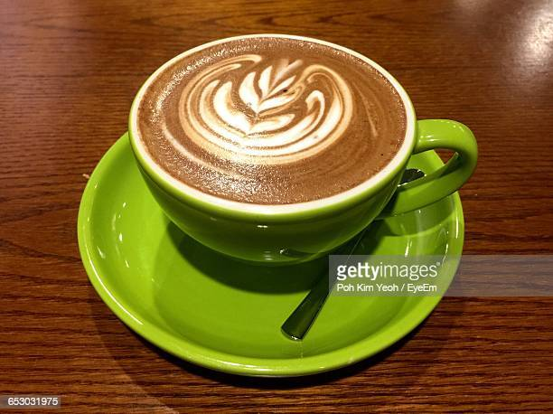 Close-Up Of Mocha Served On Table