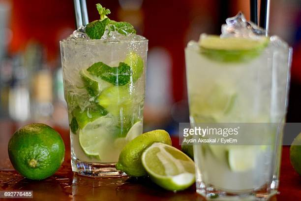 close-up of mojito drinks - mojito stock photos and pictures