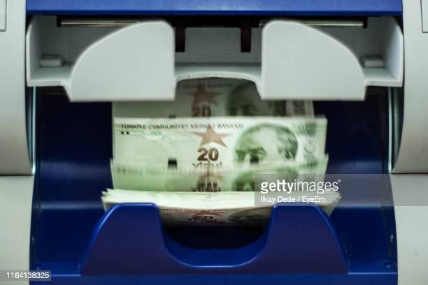 close-up of money counting machine - turkish lira stock pictures, royalty-free photos & images