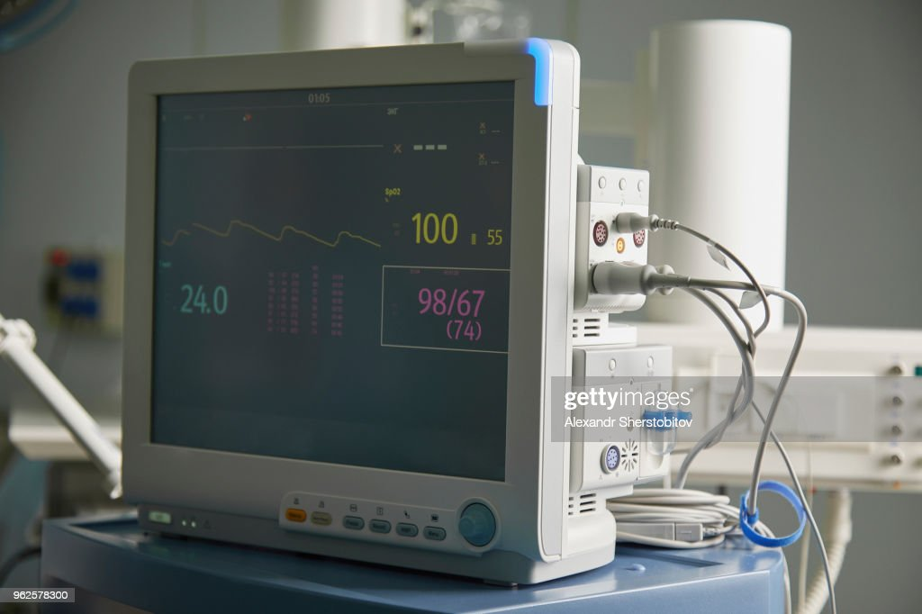 Close-up of monitoring equipment in hospital ward : Stock Photo