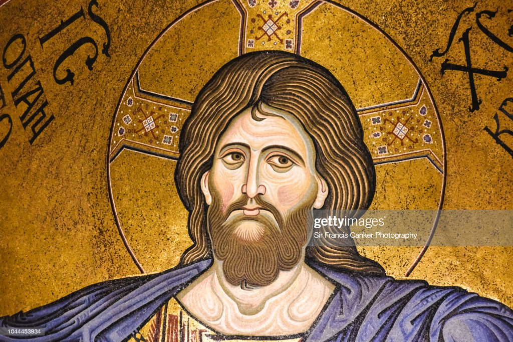 Close-up of Monreale Cathedral with prominent Christ Pantocrator mosaic in the apse at Palermo, Sicily, Italy : Stock Photo